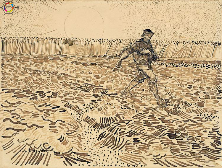 Van gogh karakalem eserleri arasında yer alan güneş altında ekim tablosu