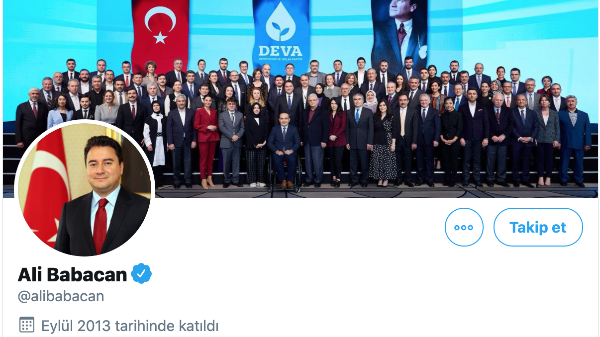 Ali Babacan Twitter profili