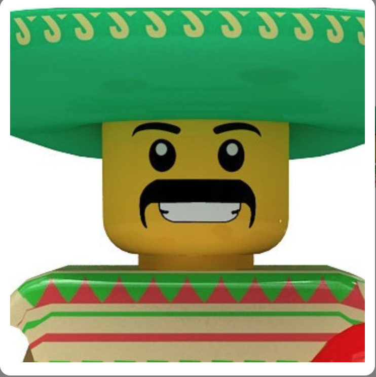 Lego resmi yeşil şapka ve bıyıklı
