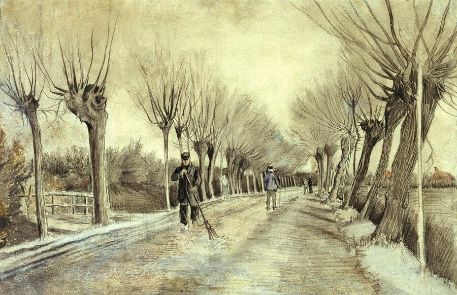 Van Gogh karakalem resimleri arasında yer alan Etten Yolu Resmi