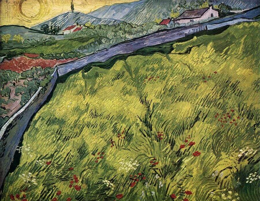 Van Gogh'un Asylum'daki meşhur yeşil buğday tarlası resmi