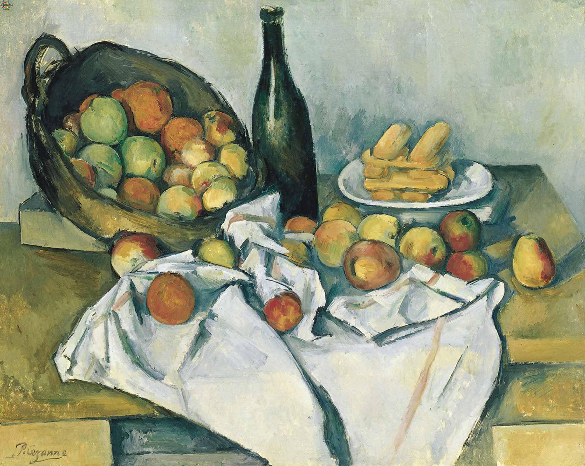 Paul Cezanne'nin şişe ve elma sepeti tablosu